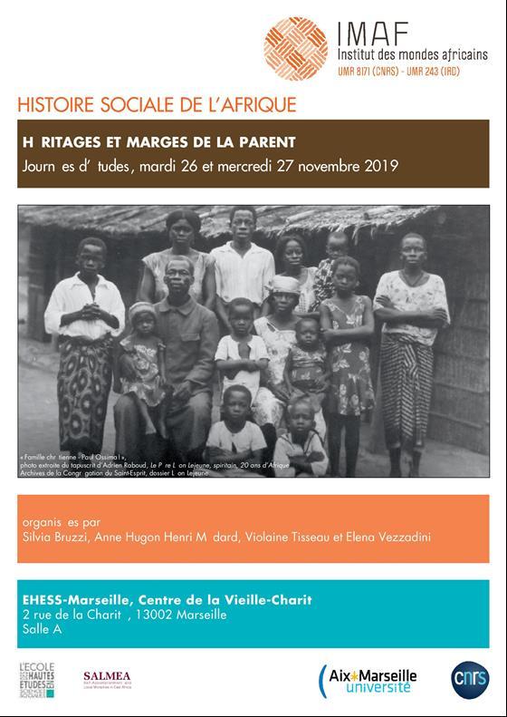 """26-27 November 2019 – Two-day conference """"Histoire sociale de l'Afrique : Héritages et marges de la parenté"""""""